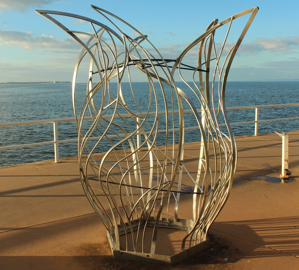 Beacon, Marion Hoad (1996)  - CONSERVATION PROJECT - June 2017Brisbane City Council Public Art Collection - PA No: PA 432Location: 'Lovers' Walk' Sandgate/Shorncliffe Foreshore, BRISBANEConservation Work: Cleaned artwork; Assessed areas of the work for structural stability and repair cracked welds; Electropolish the stainless steel