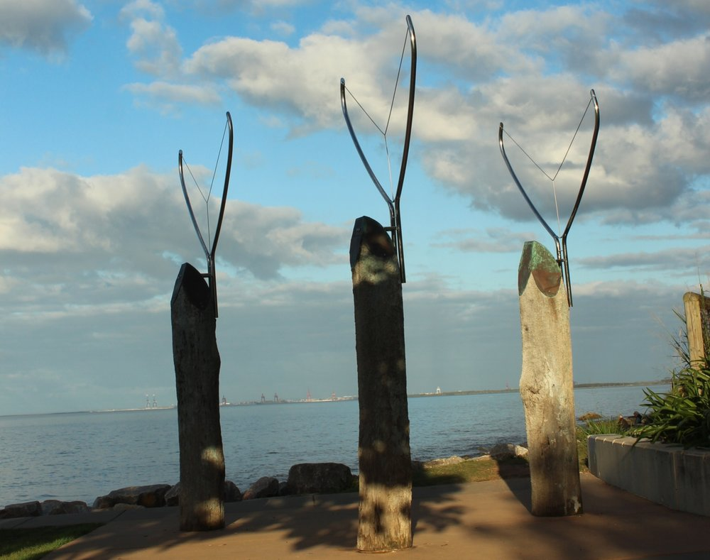 Whale Tails by Roman Novak - CONSERVATION PROJECT - June 2017Brisbane City Council Public Art Collection - PA No: PA 406Location: 'Lovers' Walk' Sandgate/Shorncliffe Foreshore, BRISBANEConservation Work: Removed the Stainless Steel forms for polishing; Electropolished the stainless steel; Treated the timber affected by rot; Reinstated the copper capping and stainless steel forms; Replaced any missing or worn fixtures