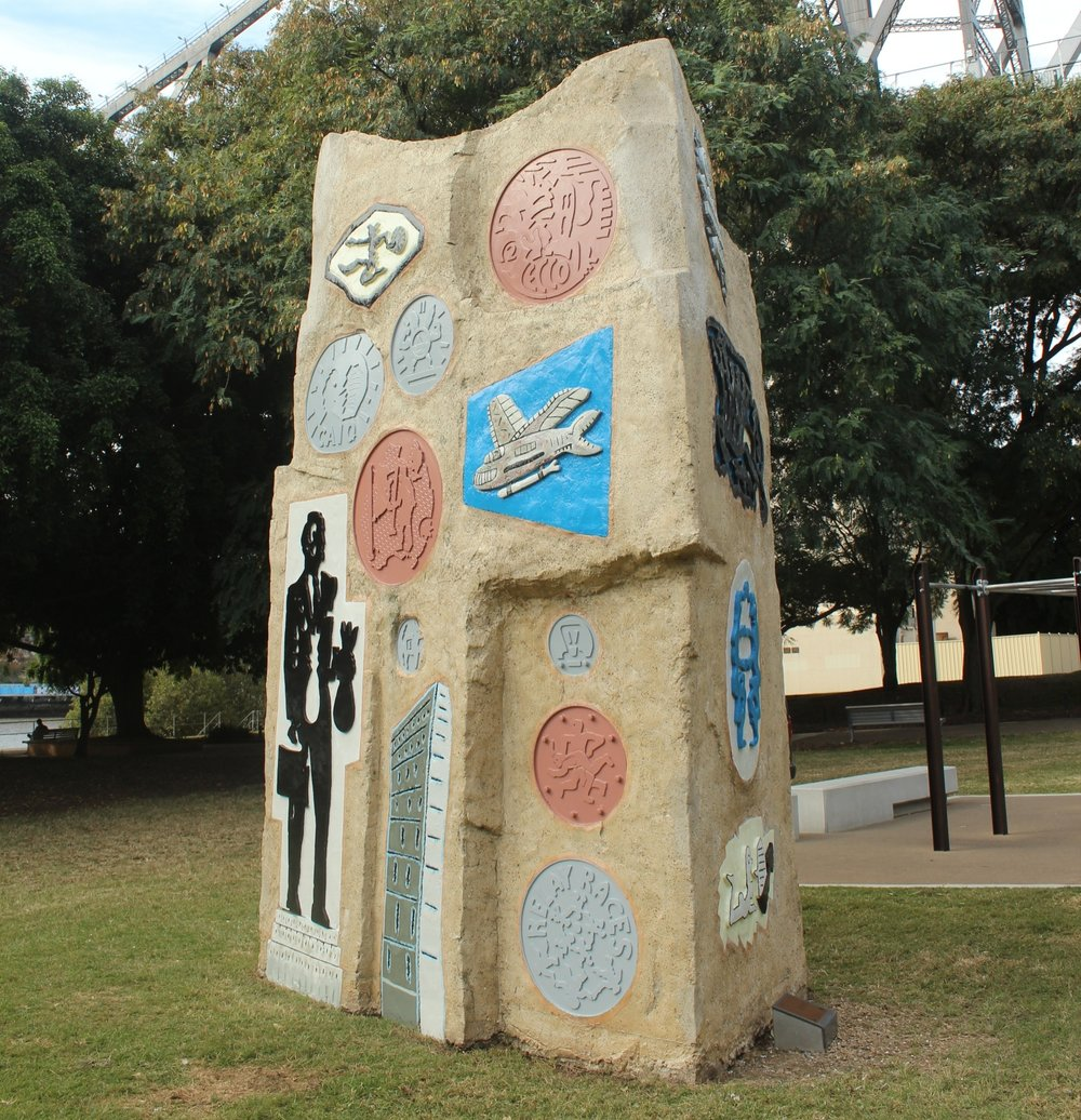 The Rock by Stephen Killick (1988) - CONSERVATION PROJECT - May 2018Brisbane City Council Public Art Collection - PA No: PA251Location: Captain Burke Park, Kangaroo Point BRISBANEConservation Work: Assess the artwork at height and pressure clean the artwork to remove dirt, biological growth and loss clear coating: Assess the paint system (exterior water-base gloss); Scuff / sand flacking areas; and Matched colours and repaint areas as required.
