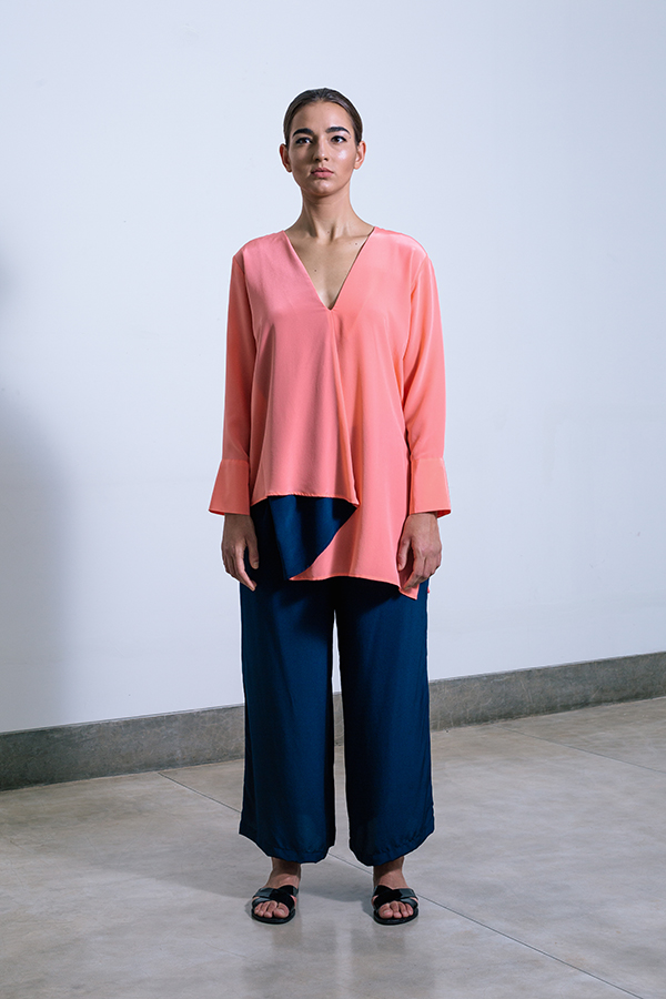 Tareeni Origami blouse and Tareeni Wide leg Pants Coral & Midnight blue.jpg