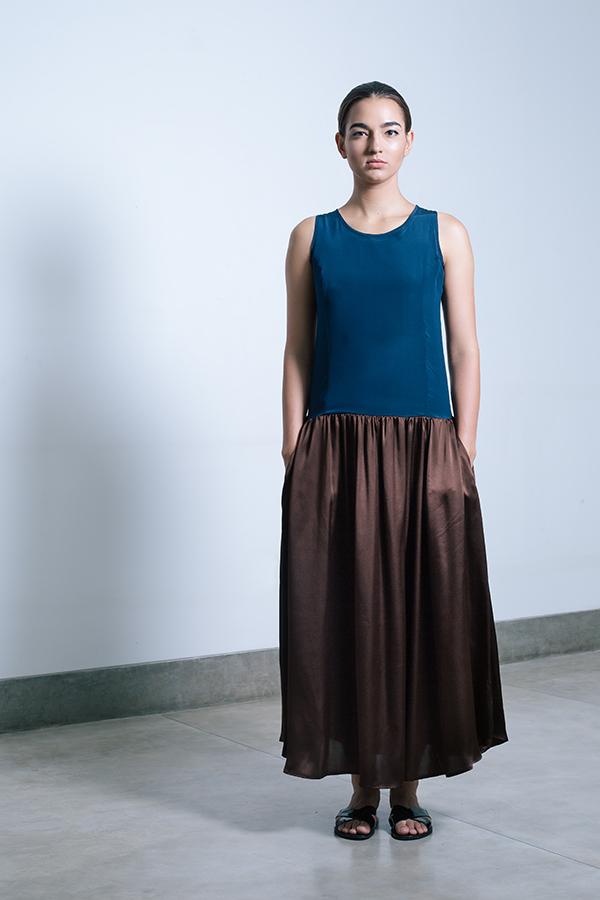 Ella dress - Midnight blue & Chocolate.jpg
