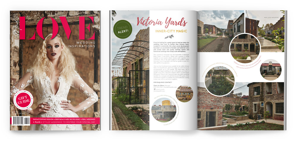 Victoria Yards featured in the winter 2018 issue of  Mad Love Wedding Inspirations Magazine