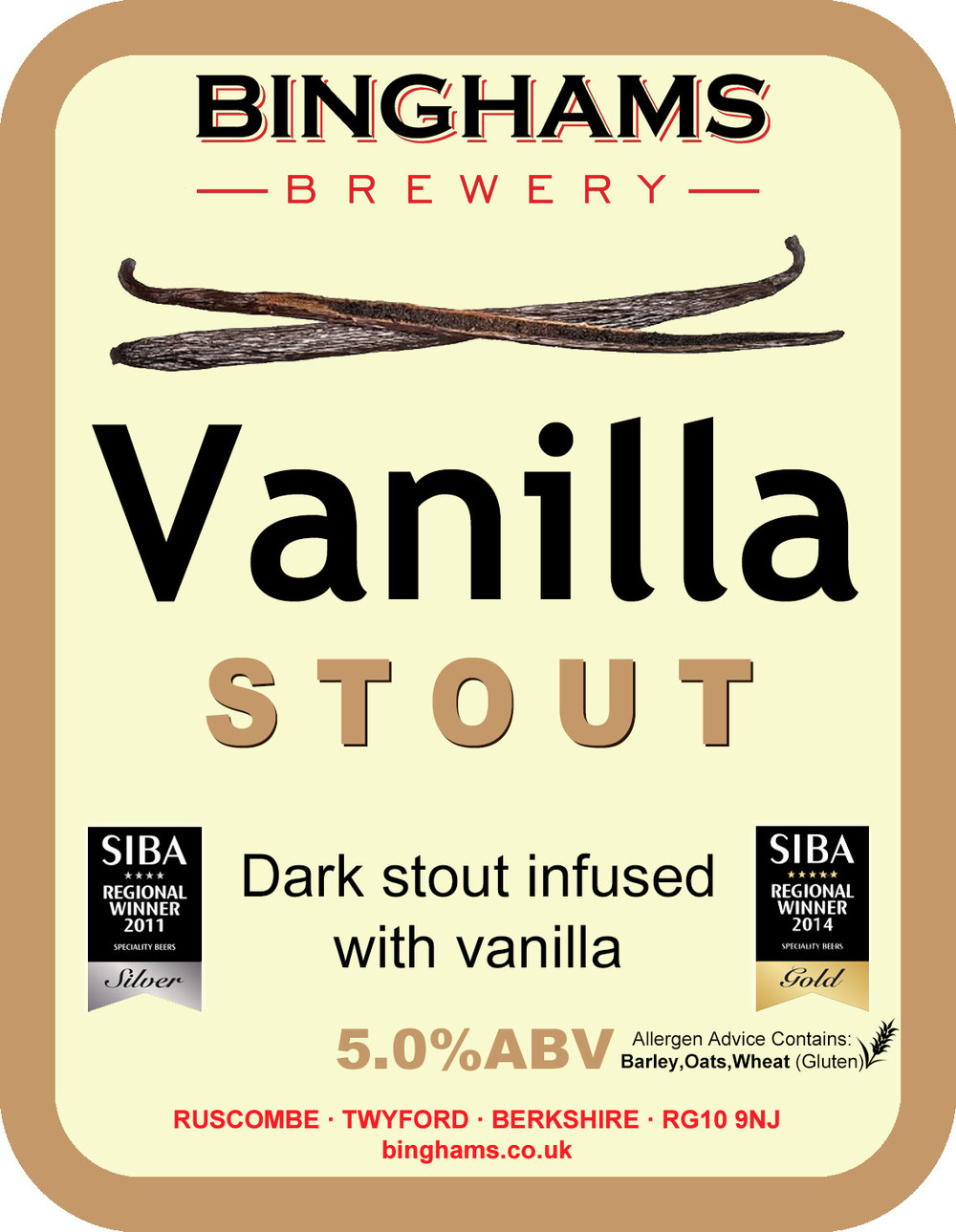 VANILLA STOUT 5.0% ABV - Vegan friendly in cask   SUPREME CHAMPION BEER OF BRITAIN 2016