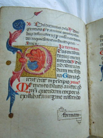 Illuminated Letter D at the office of Terce