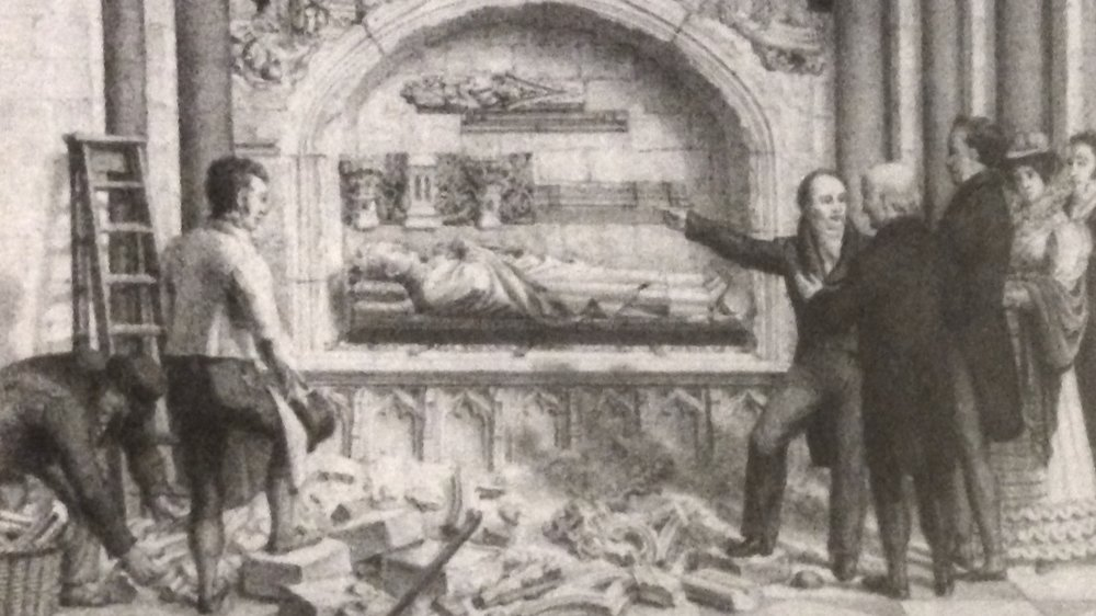Figure 2. Engraving c.1825 showing the then recently discovered tomb of Bishop John de Sheppey. The rubble includes several sculptural fragments that are within the collection today.