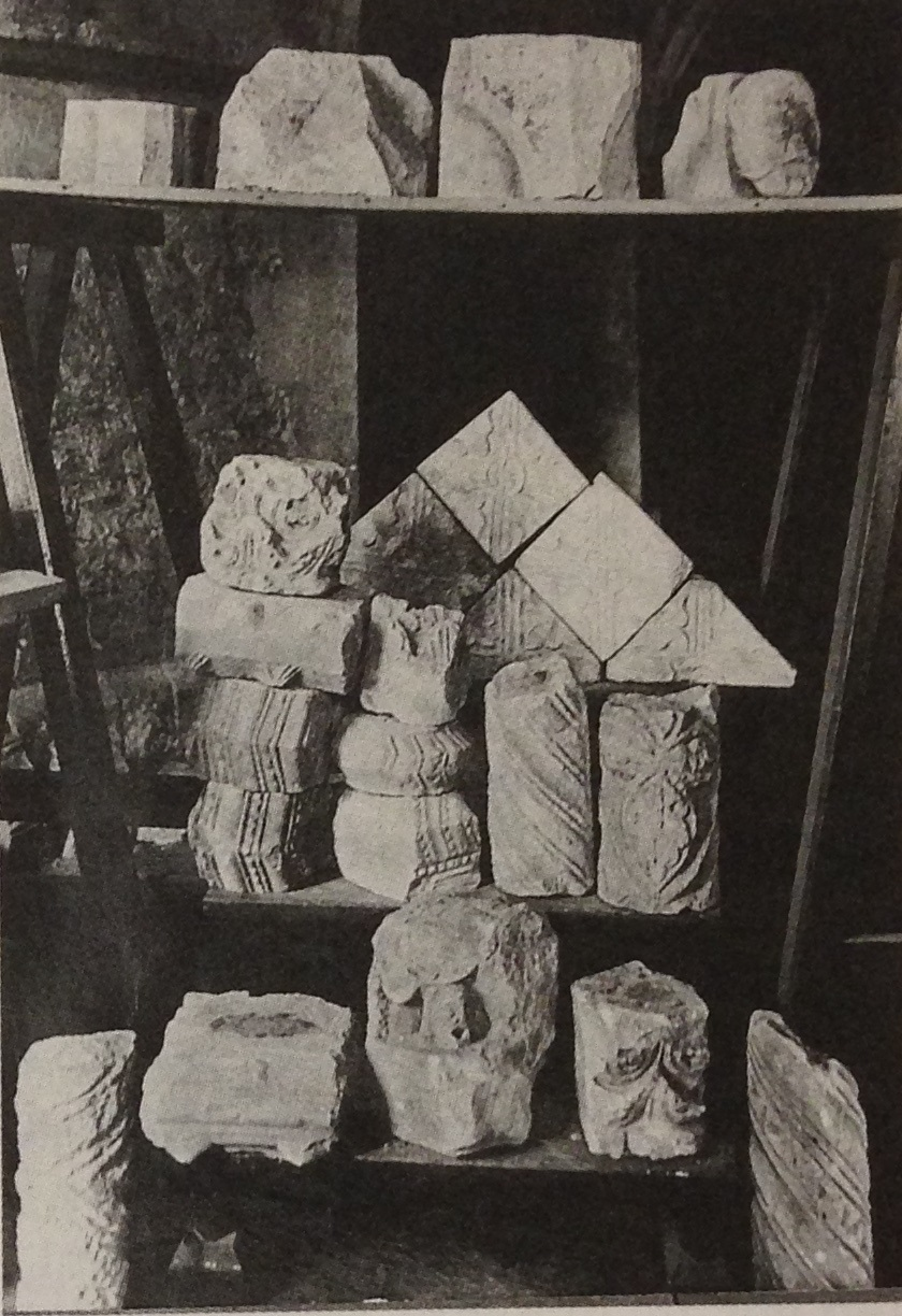 Figure 4. Photograph by George Payne, F.S.A. c. 1890, showing fragments thought to have been removed during restorations to the west facade.