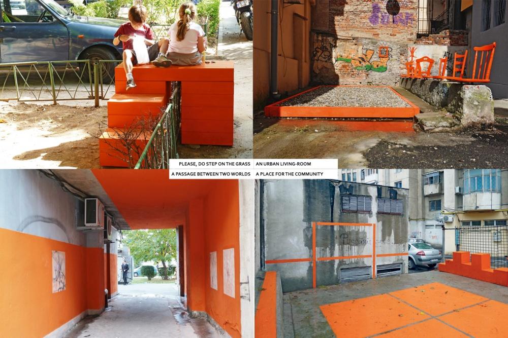 Les 4 interventions dans les espaces interstitiels de la ville de Bucarest © Zeppelin