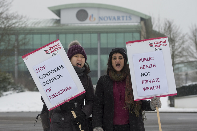 protesters outside novartis hq - Image: David Mirzoeff/Global Justice
