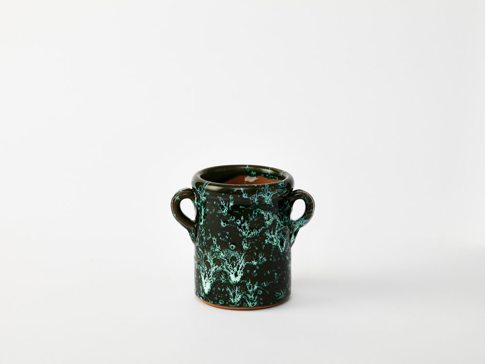 Emma Cerasulo_Small Italian Green Splatter Ceramic Jar