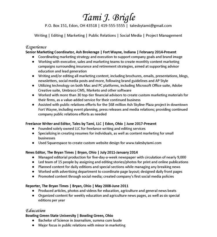 Sample Resumes — Tales by Tami