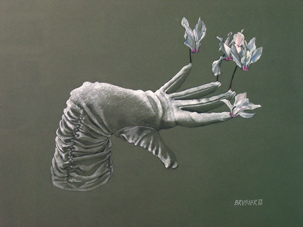 Handsprout   2000, white charcoal and gouache on Canson paper, Image size: 15 x 19 inches