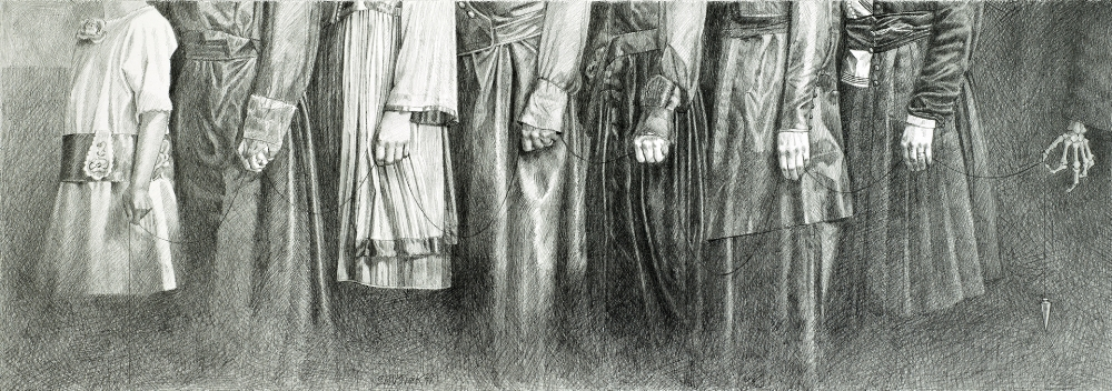 In Queue    2011, graphite on Bristol paper, Image Size: 8.5 x 22 inches