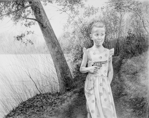 Looking for Huckleberry   2011, graphite on Bristol paper, Image Size: 17.5 x 23.5 inches