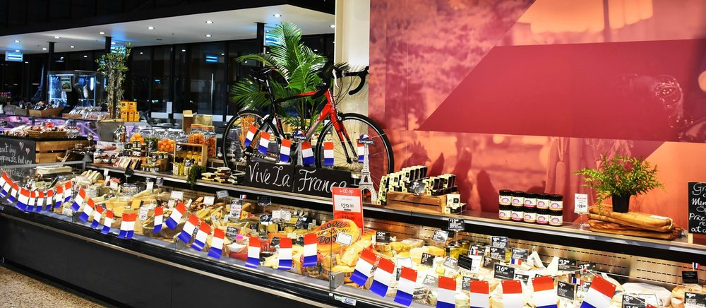 The Co-Op Fresh Foodland cheese display for Bastille Day