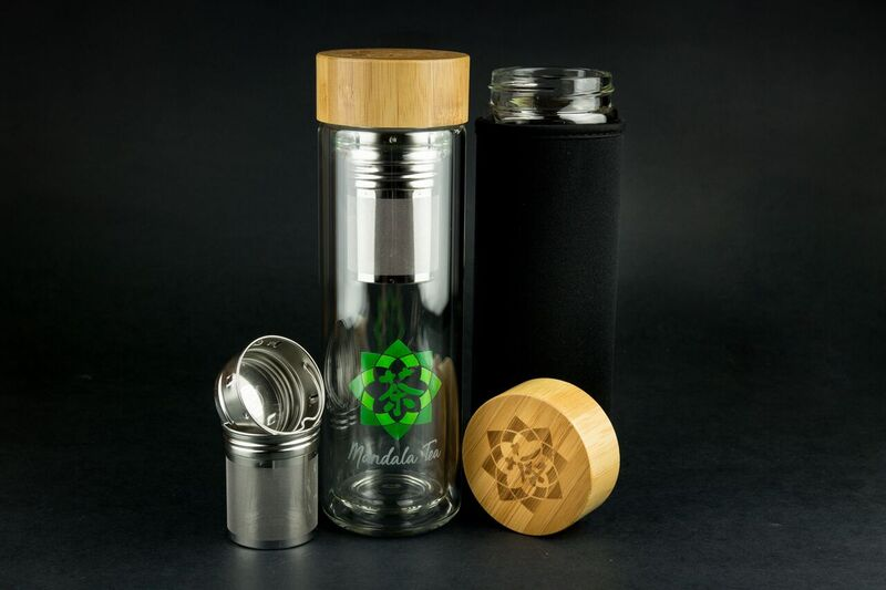 tea thermos w2 piece strainer and sleeve - Glass Thermos