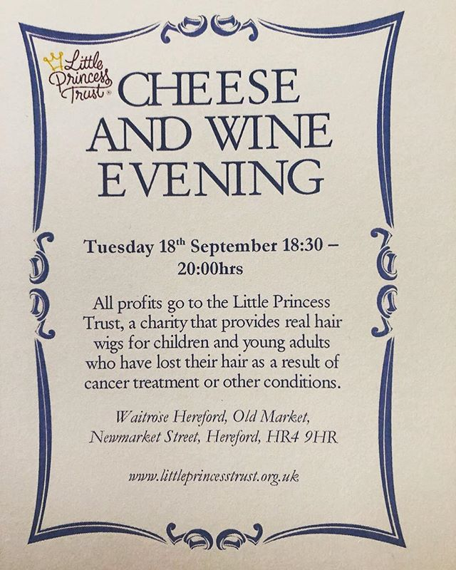 'Cheese, wine and friends must be old to be good.' So, grab some old mates and meet some new ones at our Cheese and Wine evening at Waitrose in Hereford - in aid of #littleprincesstrust  Tickets are £5 - head over to @adymoz and drop him a DM to secure your place.  See you there! • • • • • #charity #donate #nonprofit #fundraising #philanthropy #dogood #volunteer #causes #givingback #fundraiser #charityevent #activism #socialgood #giveback #change #giving #donation #goodcause #donations #charitychallenge #volunteering #charitytuesday #community #volunteers #dogoodfeelgood #fundraisingevent #nonprofitorganization #help #aid