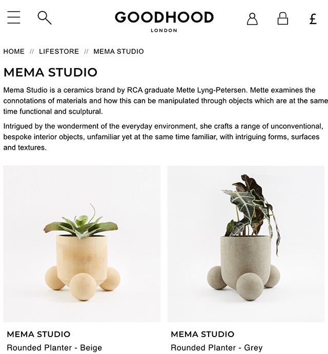 Find my rounded foot and fringe planters at @goodhood 🌱 🌱 🌱  #pots #planter #memastudio #ceramics