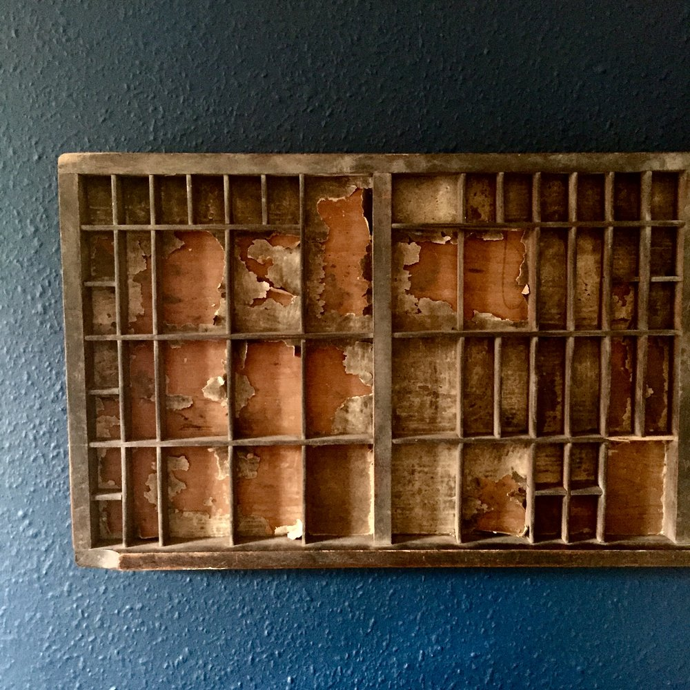 - Whilst in Conwy we also picked up this old printing block tray from Drew Pritchard Antiques. We just love the old scraps of paper still clinging on to the wood. It is now on display in our guest snug!