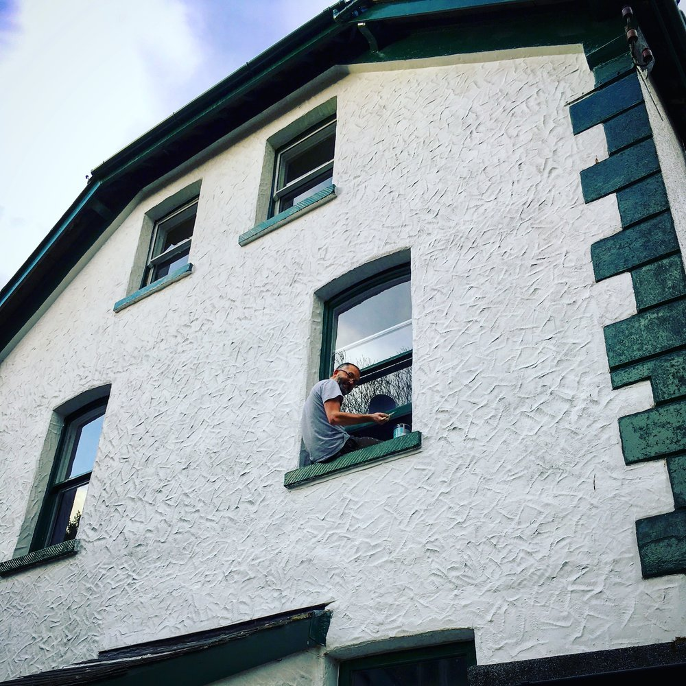 - On our return home, eleven of our 150-year-old sash windows got a full professional refurbishment - repaired wood work, new cords, smart brass catches and draught-reducing brushes. Then it was over to Stu to repaint them all inside and out, improving his balance as he did so…..