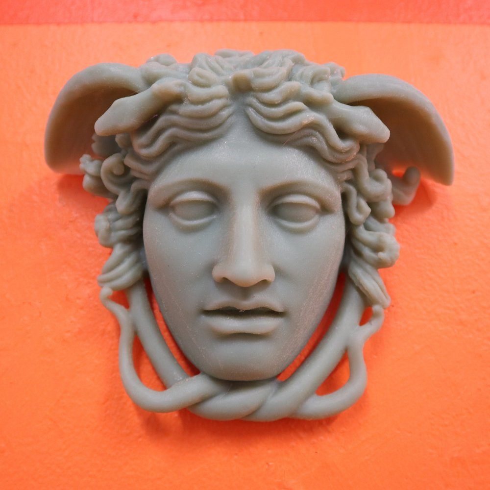 The_Medusa_Rondanini   2018  photopolymer 3D print  3D print made secretly in military contractor's printing lab using model design by Cosmo Wenman under Creative Commons license