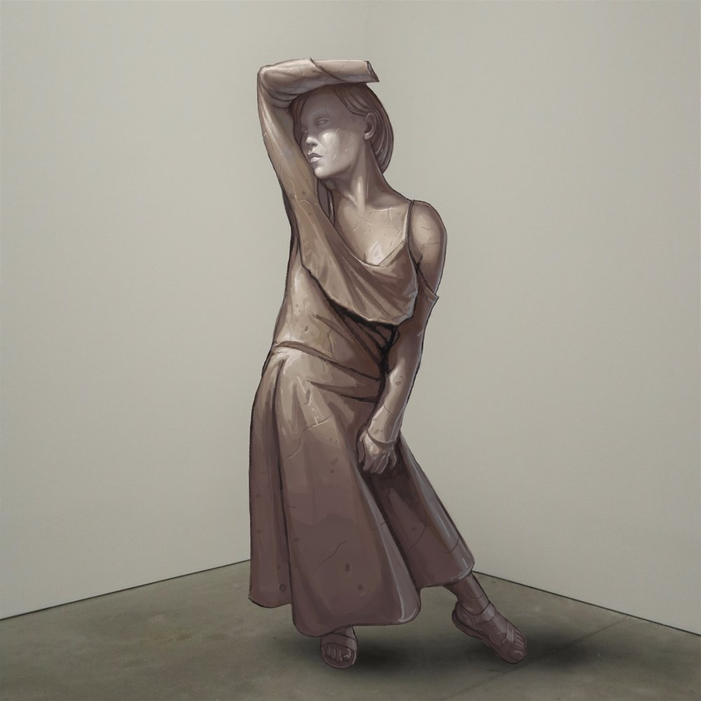 """""""Artemis,"""" marble, Institute of Contemporary Art, Boston   2018  JPG  During an installation at the Institute of Contemporary Art in Boston, viewers were invited to imagine themselves as statues in the ICA's permanent collection. Participants were photographed posing as a statue they felt represented themselves, created a name for their fictional statue, and selected a stone from which their statue would be made. Professional and amateur digital artists were commissioned to create renderings of the statues, which were superimposed on photos of the ICA's permanent collection gallery space."""