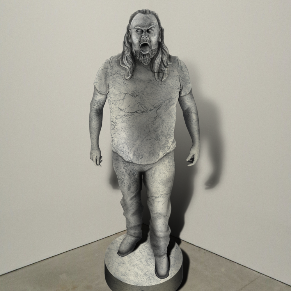 """""""Champ,"""" marble, Institute of Contemporary Art, Boston   2018  JPG  During an installation at the Institute of Contemporary Art in Boston, viewers were invited to imagine themselves as statues in the ICA's permanent collection. Participants were photographed posing as a statue they felt represented themselves, created a name for their fictional statue, and selected a stone from which their statue would be made. Professional and amateur digital artists were commissioned to create renderings of the statues, which were superimposed on photos of the ICA's permanent collection gallery space."""