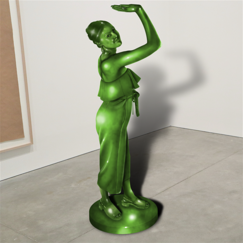 "Fanfiction Permanent Collection: ""Emma Stone,"" jade, ICA Boston   2018  JPG  During an installation at the Institute of Contemporary Art in Boston, viewers were invited to imagine themselves as statues in the ICA's permanent collection. Participants were photographed posing as a statue they felt represented themselves, created a name for their fictional statue, and selected a stone from which their statue would be made. Professional and amateur digital artists were commissioned to create renderings of the statues, which were superimposed on photos of the ICA's permanent collection gallery space."