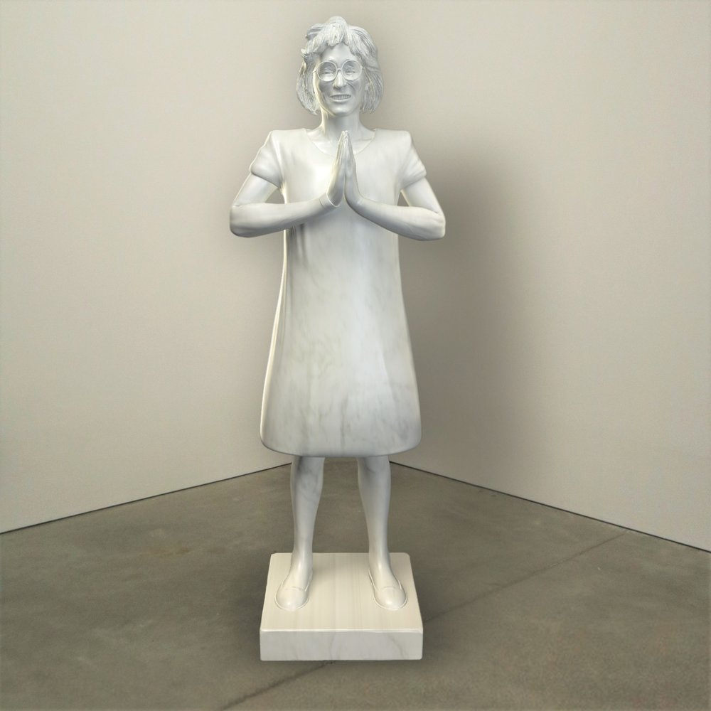 """""""Presence,"""" marble, Institute of Contemporary Art, Boston   2018  JPG  During an installation at the Institute of Contemporary Art in Boston, viewers were invited to imagine themselves as statues in the ICA's permanent collection. Participants were photographed posing as a statue they felt represented themselves, created a name for their fictional statue, and selected a stone from which their statue would be made. Professional and amateur digital artists were commissioned to create renderings of the statues, which were superimposed on photos of the ICA's permanent collection gallery space."""