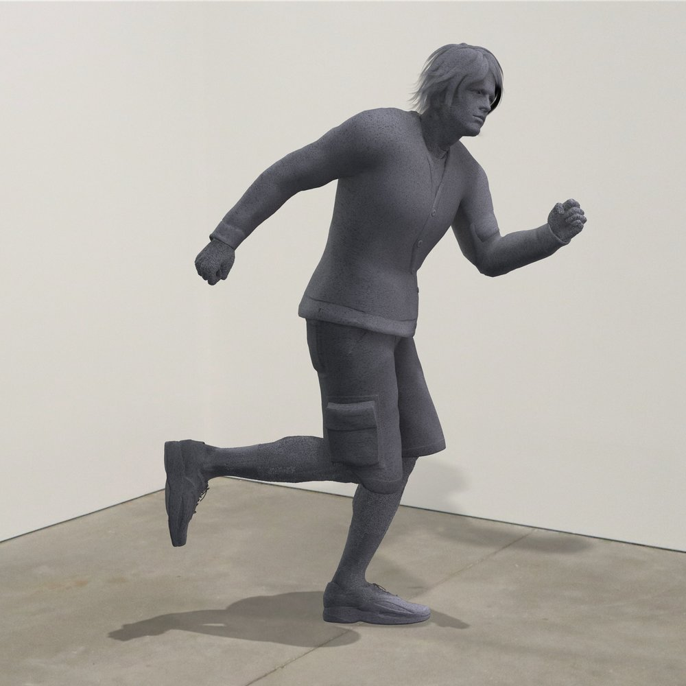"""""""Running From My Problems,"""" granite, Institute of Contemporary Art, Boston   2018  JPG  During an installation at the Institute of Contemporary Art in Boston, viewers were invited to imagine themselves as statues in the ICA's permanent collection. Participants were photographed posing as a statue they felt represented themselves, created a name for their fictional statue, and selected a stone from which their statue would be made. Professional and amateur digital artists were commissioned to create renderings of the statues, which were superimposed on photos of the ICA's permanent collection gallery space."""