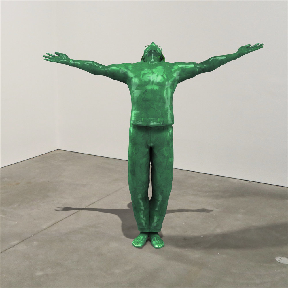 """""""Jaded,"""" jade, Institute of Contemporary Art, Boston   2018  JPG  During an installation at the Institute of Contemporary Art in Boston, viewers were invited to imagine themselves as statues in the ICA's permanent collection. Participants were photographed posing as a statue they felt represented themselves, created a name for their fictional statue, and selected a stone from which their statue would be made. Professional and amateur digital artists were commissioned to create renderings of the statues, which were superimposed on photos of the ICA's permanent collection gallery space."""