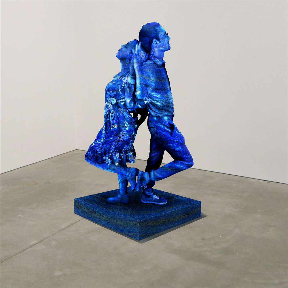 """""""My Head/Hand,"""" lapis lazuli, Institute of Contemporary Art, Boston   2018  JPG  During an installation at the Institute of Contemporary Art in Boston, viewers were invited to imagine themselves as statues in the ICA's permanent collection. Participants were photographed posing as a statue they felt represented themselves, created a name for their fictional statue, and selected a stone from which their statue would be made. Professional and amateur digital artists were commissioned to create renderings of the statues, which were superimposed on photos of the ICA's permanent collection gallery space."""