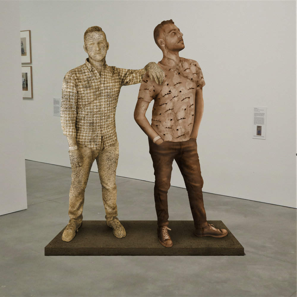 """""""CLAIRE'S LITTER BOX (MEOW),"""" granite and quartzite, Institute of Contemporary Art, Boston   2018  JPG  During an installation at the Institute of Contemporary Art in Boston, viewers were invited to imagine themselves as statues in the ICA's permanent collection. Participants were photographed posing as a statue they felt represented themselves, created a name for their fictional statue, and selected a stone from which their statue would be made. Professional and amateur digital artists were commissioned to create renderings of the statues, which were superimposed on photos of the ICA's permanent collection gallery space."""