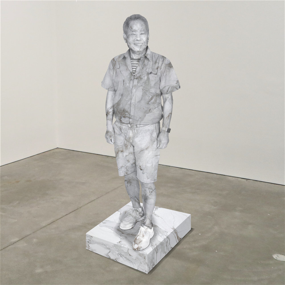 """""""Viewer,"""" marble, Institute of Contemporary Art, Boston   2018  JPG  During an installation at the Institute of Contemporary Art in Boston, viewers were invited to imagine themselves as statues in the ICA's permanent collection. Participants were photographed posing as a statue they felt represented themselves, created a name for their fictional statue, and selected a stone from which their statue would be made. Professional and amateur digital artists were commissioned to create renderings of the statues, which were superimposed on photos of the ICA's permanent collection gallery space."""