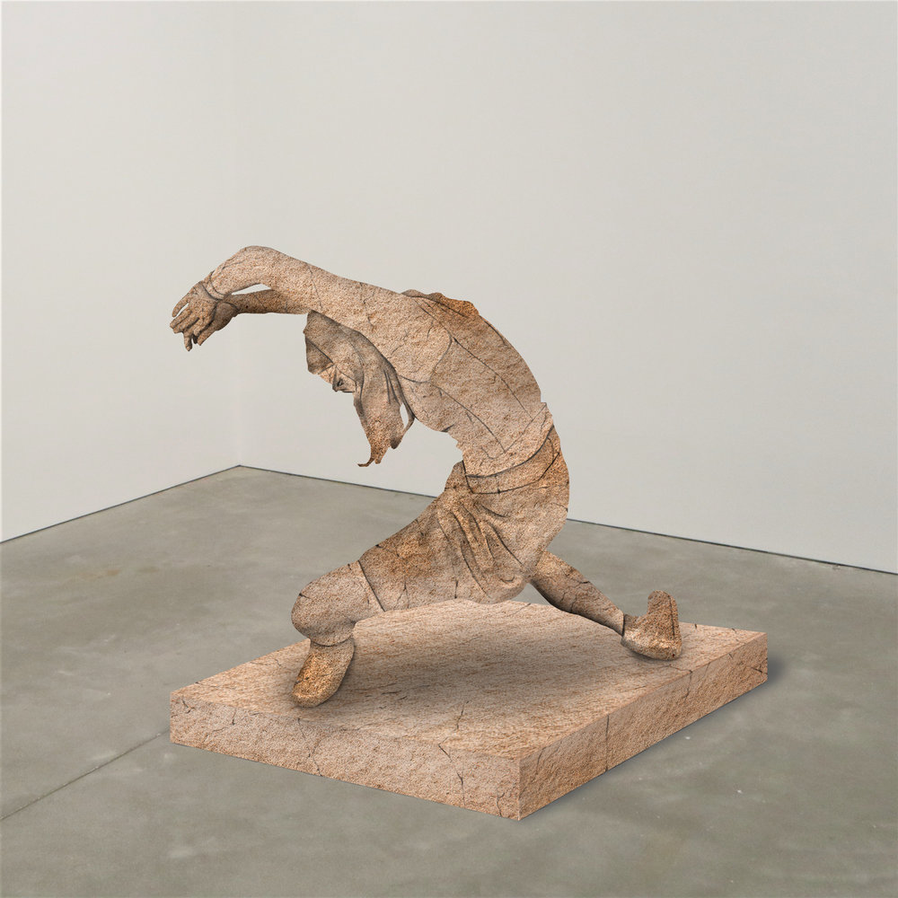 """""""concaving,"""" limestone, Institute of Contemporary Art, Boston   2018  JPG  During an installation at the Institute of Contemporary Art in Boston, viewers were invited to imagine themselves as statues in the ICA's permanent collection. Participants were photographed posing as a statue they felt represented themselves, created a name for their fictional statue, and selected a stone from which their statue would be made. Professional and amateur digital artists were commissioned to create renderings of the statues, which were superimposed on photos of the ICA's permanent collection gallery space."""