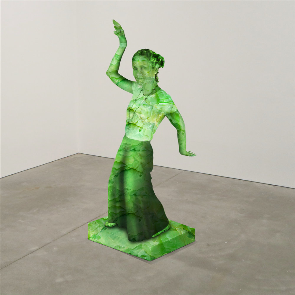 """""""SOUTH AMERICAN GREAT AGAIN,"""" jade, Institute of Contemporary Art, Boston   2018  JPG  During an installation at the Institute of Contemporary Art in Boston, viewers were invited to imagine themselves as statues in the ICA's permanent collection. Participants were photographed posing as a statue they felt represented themselves, created a name for their fictional statue, and selected a stone from which their statue would be made. Professional and amateur digital artists were commissioned to create renderings of the statues, which were superimposed on photos of the ICA's permanent collection gallery space."""