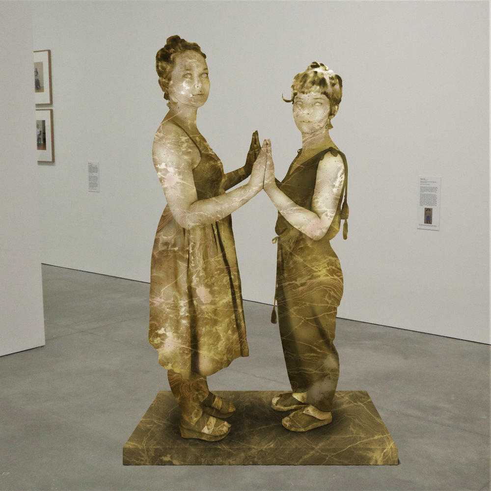 """""""The Purdy Girls,"""" soapstone, Institute of Contemporary Art, Boston   2018  JPG  During an installation at the Institute of Contemporary Art in Boston, viewers were invited to imagine themselves as statues in the ICA's permanent collection. Participants were photographed posing as a statue they felt represented themselves, created a name for their fictional statue, and selected a stone from which their statue would be made. Professional and amateur digital artists were commissioned to create renderings of the statues, which were superimposed on photos of the ICA's permanent collection gallery space."""