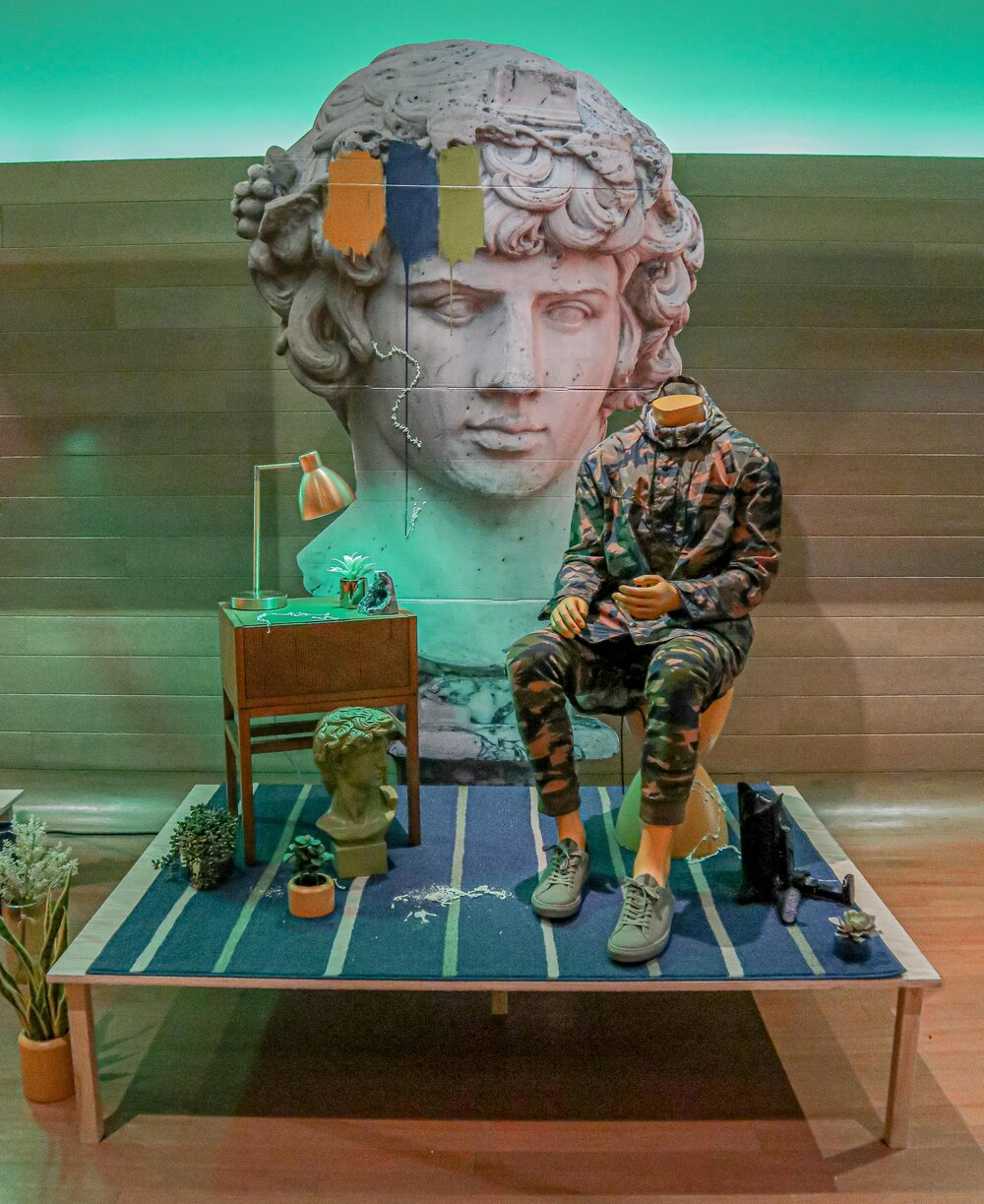 Why the statue has dreams that it remembers and dreams that it forgets .  2018  mixed media installation at the Institute of Contemporary Art, Boston, MA