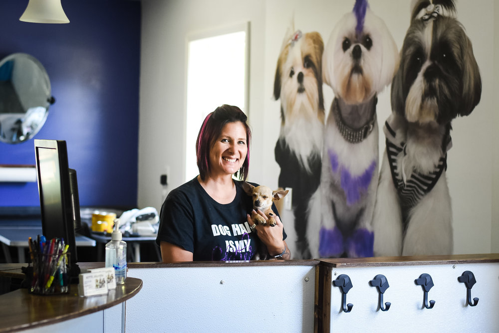 "Julie Zellers, owner of Glitter Grooming... and her ""assistant"" Snoopy."