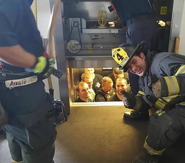 Kansas City fire department rescuing the Kansas City police department from a stuck elevator.