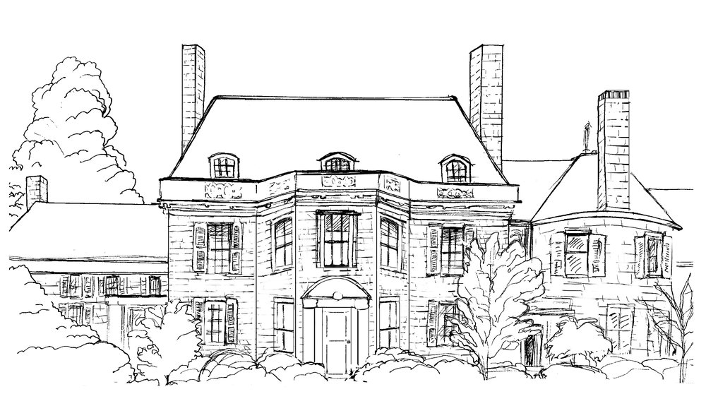 Ink  illustration of Wave Hill's house