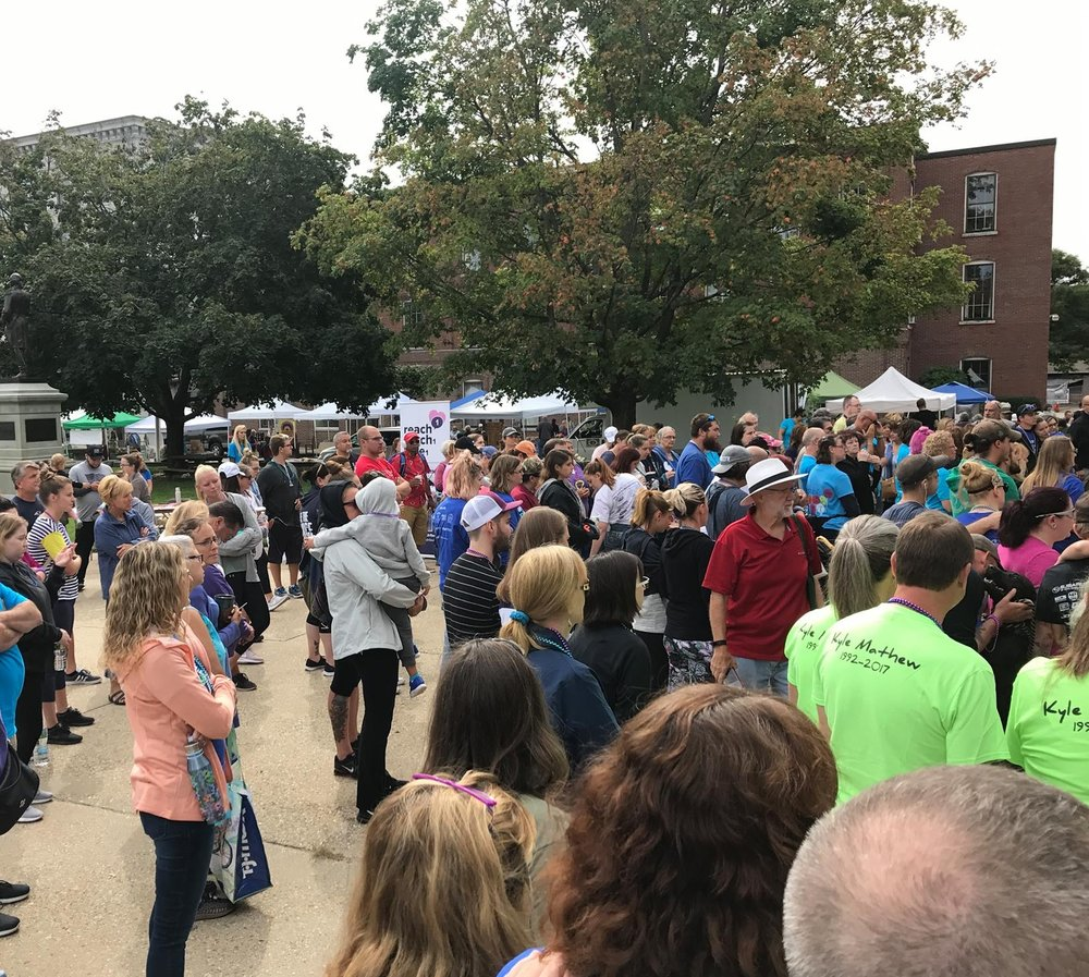 People come together to offer strength. 2018 Concord NH, Out of the Darkness Walk