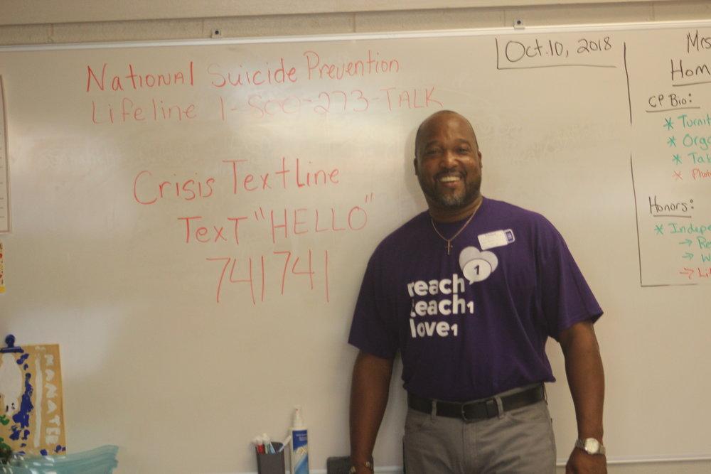 Board Member, Leonard, encouraging 9th graders in Hudson NH.