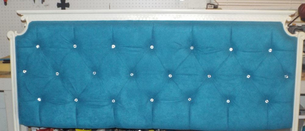 First every headboard. The client bought an old headboard and I painted it, added crystal rhinestones, and this beautiful faux suede fabric