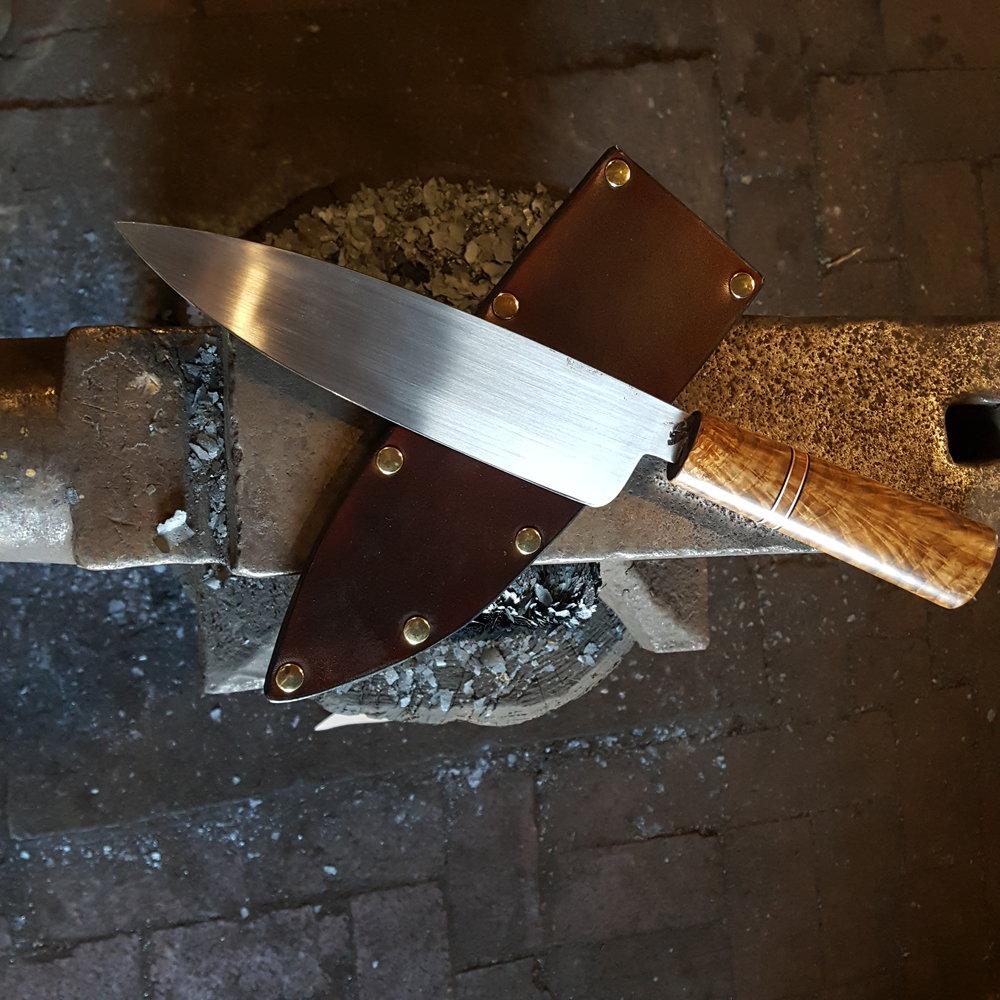 Custom french chef's knife with highlyfigured oak handle. Derick Kemper - damselflyforge.com.jpg