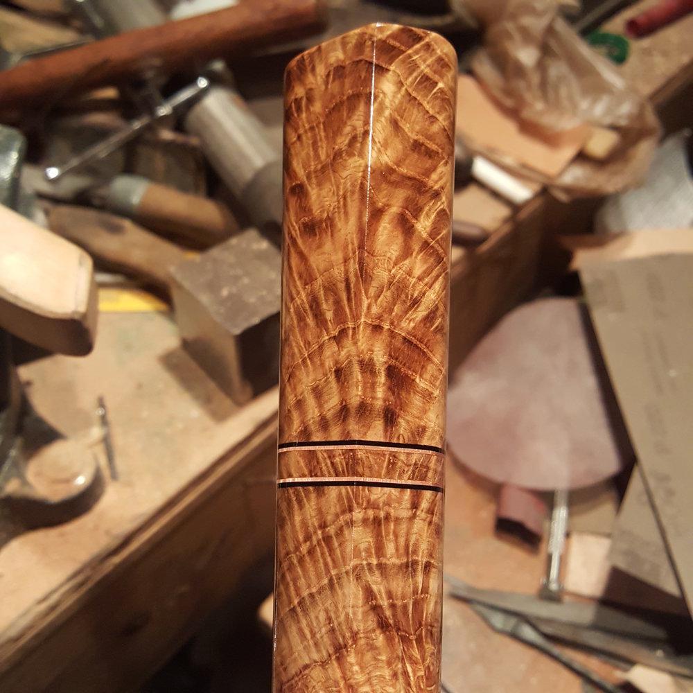 Figured oak handle for a Chef's knife. Derick Kemper - damselflyforge.com.jpg