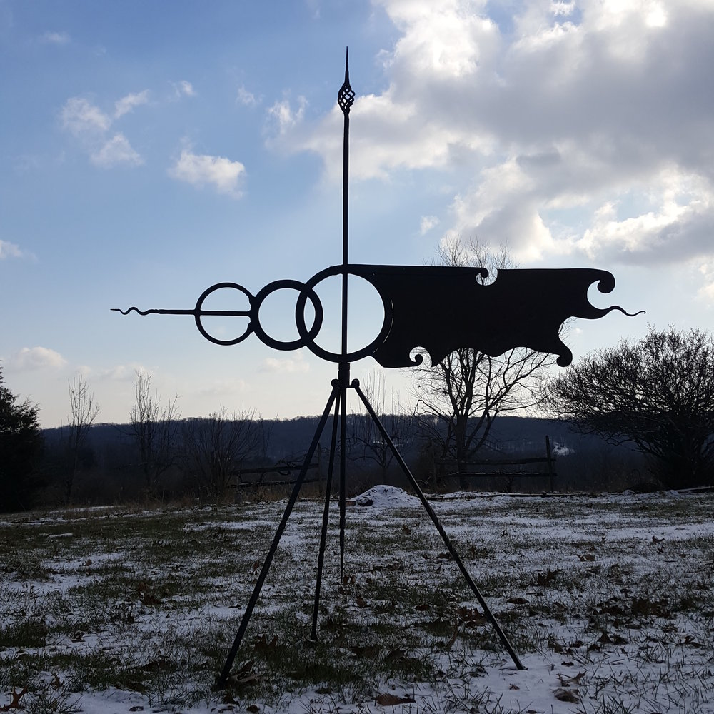 hand-forged weathervane, winter shot wrought iron and copper. Derick Kemper damselflyforge.com.jpg