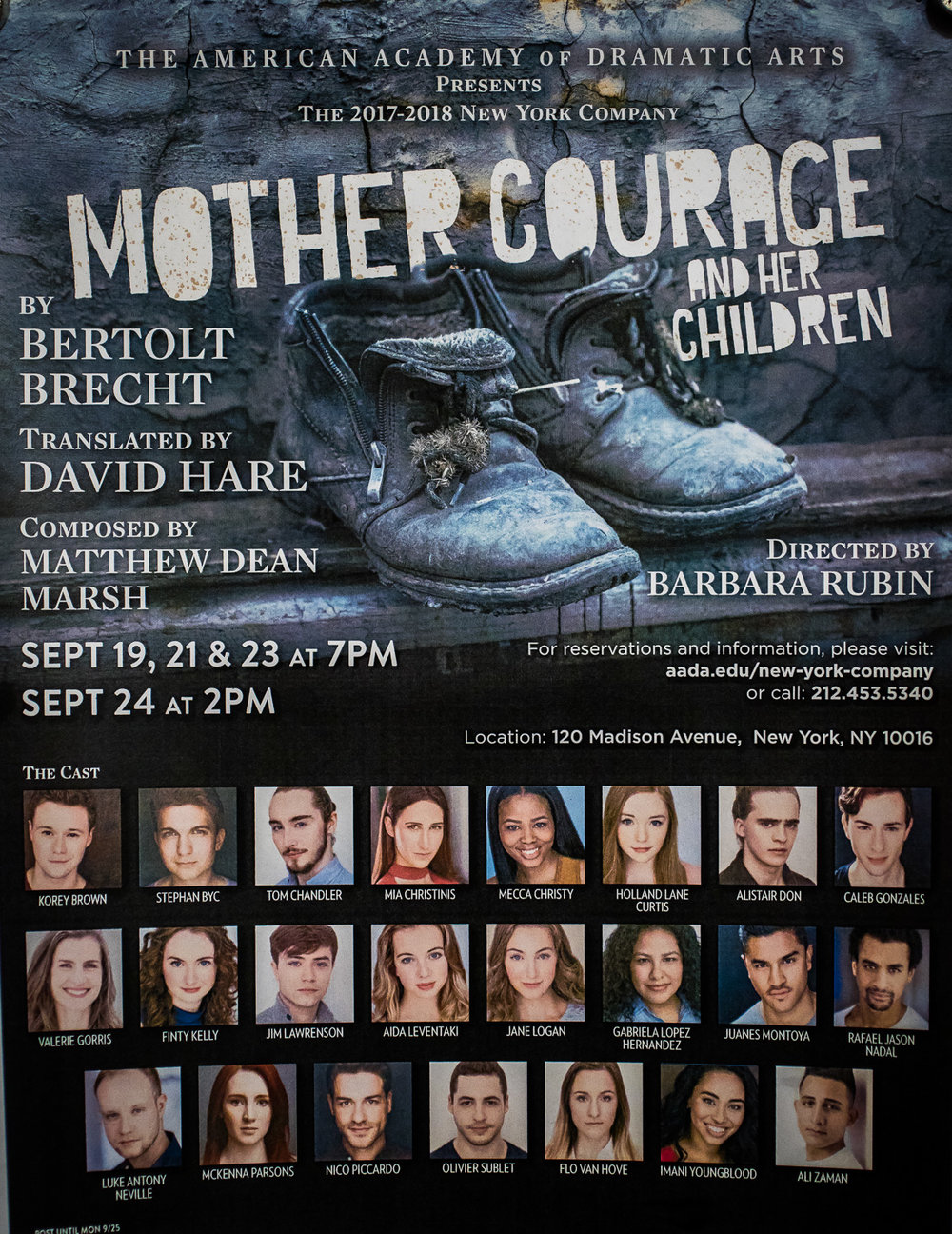 MOTHER COURAGE - Finty will be performing in her first show as part of the Academy Company. She is excited to be playing the role of Yvette Pottier, the camp whore, in Mother Courage, directed by Barbara Rubin with original music composed by Matthew Dean Marsh. Performance Dates: September 19th, 21st, 23rd and 24th 2017