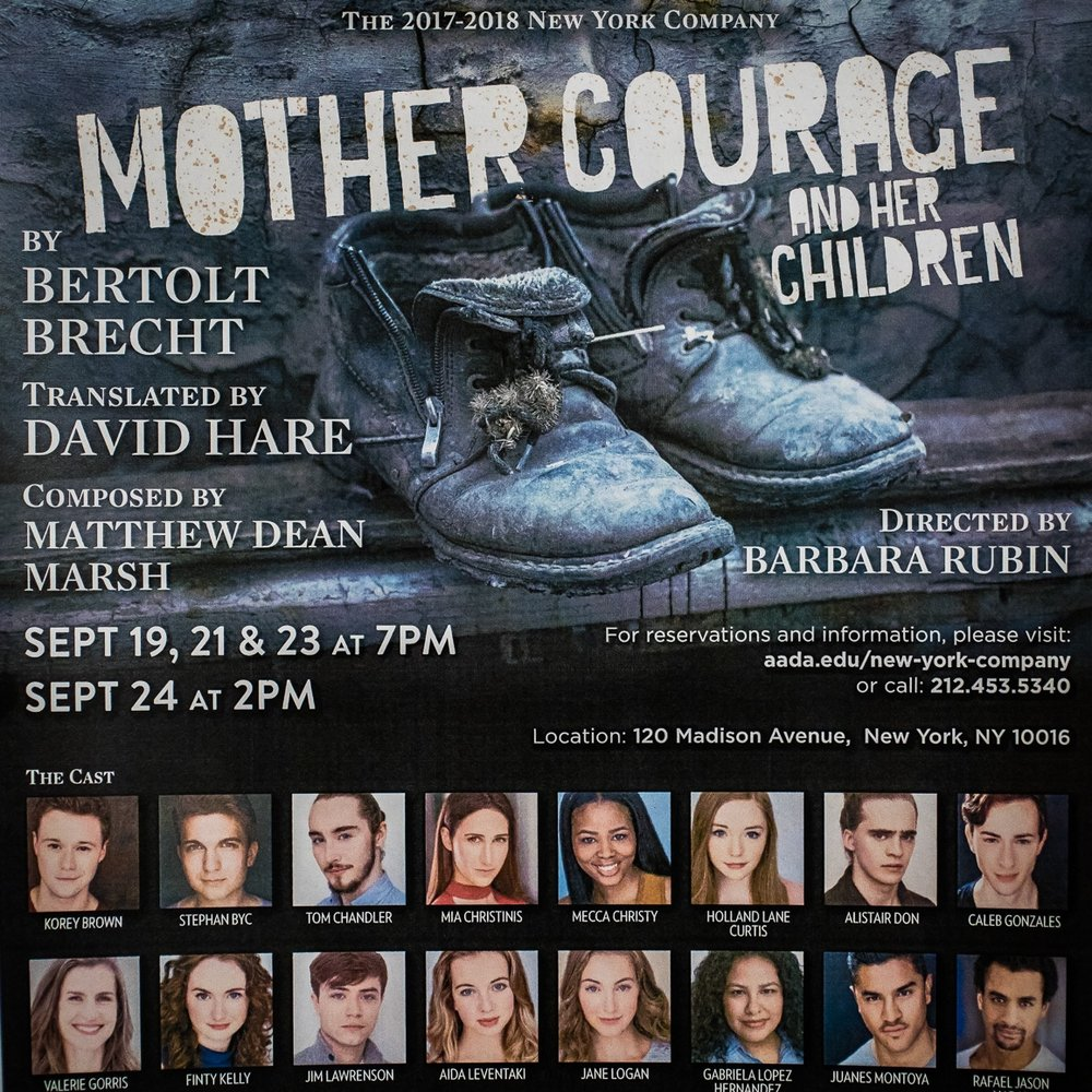 MOTHER COURAGE - Finty will be performing in her first show as part of the Academy Company. She is excited to be playing the role of Yvette Pottier, the camp whore, in Mother Courage, directed by Barbara Rubin with original music composed by Matthew Dean Marsh.Performance Dates: September 19th, 21st, 23rd and 24th 2017