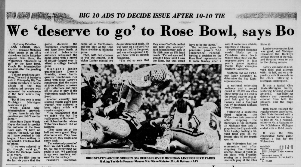 Strinko (#59) at lower left makes tackle while OSU's Archie Griffin hurdles over Michigan line (from Associated Press, November 25, 1973).jpg