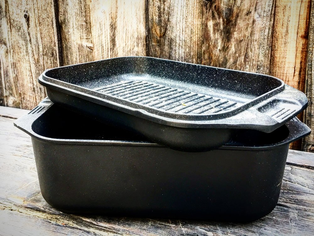 10 quart double roaster - The MVP of the line. What kind of miracle pan has a lid that will grill salmon and make perfect grill marks? And also do your Thanksgiving Turkey?  Campers cook with charcoal inside when they hunt or dry camp. The cast construction makes it light andeasy to use for big jobs.$499.99 (was $549.99)